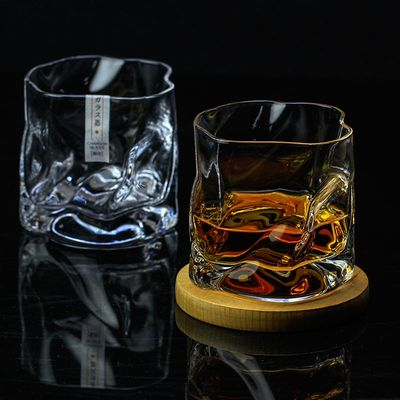 COM Art Design Crumple Whiskey Tumbler Glass Irregular Folds Verre Vodka Cups Personality Brandy Snifters Iced Whisky Rock Glass