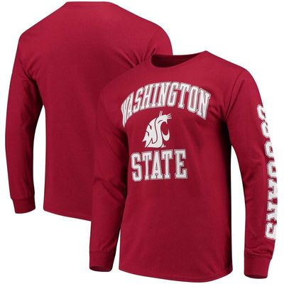 Washington State Cougars Fanatics Branded Distressed Arch Over Logo Long Sleeve Hit T-Shirt - Crimson