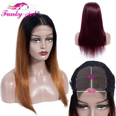 Funky Girl Lace Closure Human Hair Wigs Pre-Plucked Brazilian Straight Non-Remy Hair Ombre 4*4 Lace Closure Wig With Baby Hair