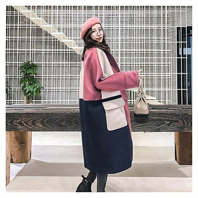 [Hide Powder Tricolor Stitching]-Pregnant Women's Autumn Suit Fashionable Woolen Jacket In A Long Over-knee Chic Color Overcoat
