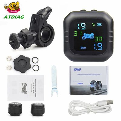 2020 USB Solar Charging Motorcycle TPMS Motor Tire Pressure Tyre Temperature Monitoring Alarm System with 2 External Sensors