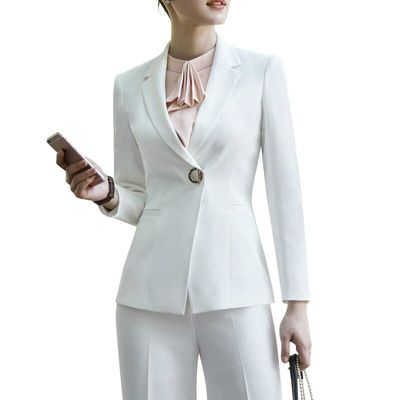 White Pants, Black Women's Fashion Business, Formal Suits, Long Sleeved, And Slim Blazer Pants Ladies Work Office Costume Femme