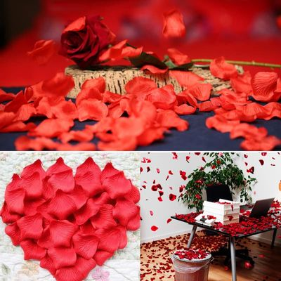 100Pcs/Pack 5*5cm Flower Petals Wedding Dried Rose Petals Artificial Petalas De Rosa Decorations Marriage Room Flower Rose