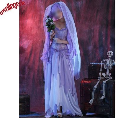 2017 carnival party bridal dress, sexy death bridal costume Cosplay Tiered Ruffles Big Zig Purple Costume for Women w1927