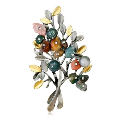 Natural Stone Retro Crystal Brooches for Women Plant Branch Leaf Tree Pins Banquet Bouquet Pin Decorative Party Dress Jewelry