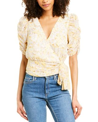 DNT Puff-Sleeve Wrap Top