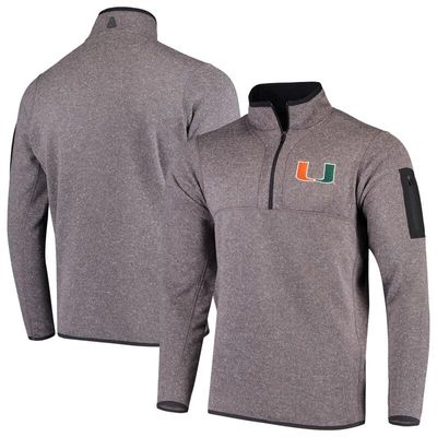 Miami Hurricanes Antigua Fortune 1/2-Zip Pullover Sweater - Heathered Charcoal