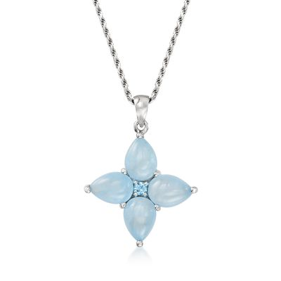 Ross-Simons Milky Aquamarine and . Blue Topaz Floral Pendant Necklace in Sterling Silver