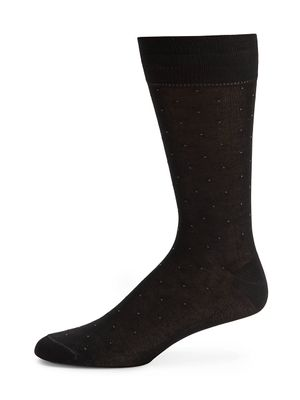Saks Fifth Avenue Made in Italy Pindot Mid-Calf Cotton-Blend Dress Socks
