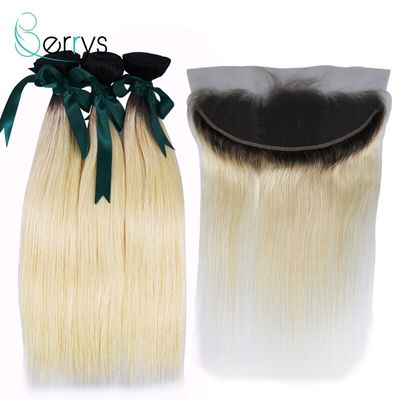 Berryshair 10A Brazilian Virgin Human Hair Ombre Blonde Hair 3 PCS/Lot With 13x4 Lace Frontal 1B/613 Color Straight Hair Wefts