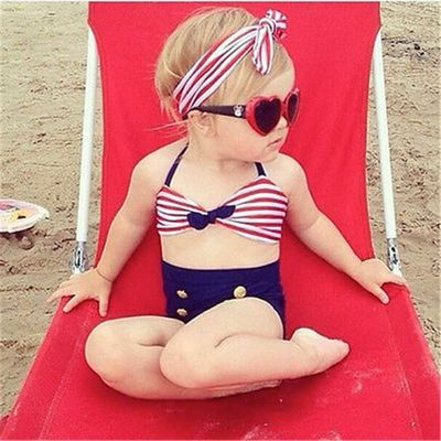 2020 Kids Baby Girls Bikini Suit Navy Swimsuit Swimwear Bathing Swimming Clothes Swimming Costume Summer Beachwear Child Biqunis