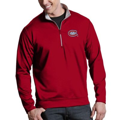 Montreal Canadiens Antigua Leader 1/4-Zip Pullover Jacket - Red
