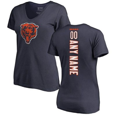 Chicago Bears NFL Pro Line by Fanatics Branded Women's Personalized Playmaker V-Neck T-Shirt - Navy