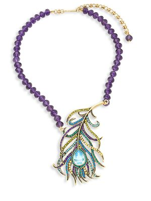 Heidi Daus Beaded Crystal Feather Pendant Necklace