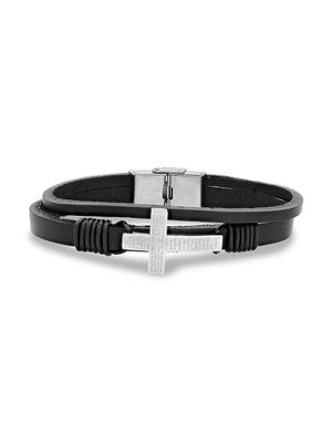Anthony Jacobs Stainless Steel & Leather Our Father Prayer Cross Bracelet