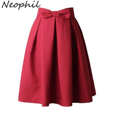 Neophi 2020 Causual Bow Pleated Women Skater Skirts Knee Length SummerHigh Waist Ladies Solid Black Ball Gown Saia S-XXL S8423