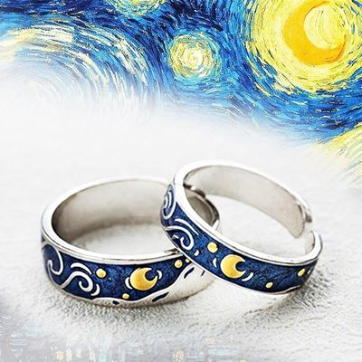 Hot Fashion Rings Van Gogh Starry Sky Plated S925 Silver Open Lover Ring For Women Men Valentine's Gift Wedding Jewelry Bohos