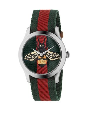 Gucci G-Timeless Steel & Nylon-Strap Watch