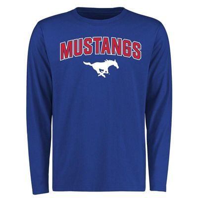SMU Mustangs Proud Mascot Long Sleeve T-Shirt - Royal -
