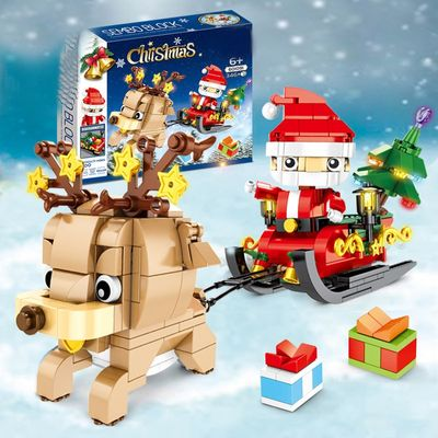 Compatible with 601091 Christmas gift box Santa elk sleigh children educational toy diy model