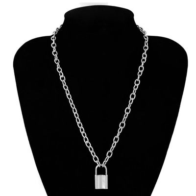 Fashion Punk Link Chain Gold and Silver color Padlock Pendant Necklace Women Trendy Punk Jewelry