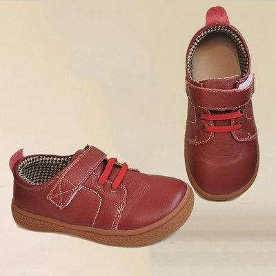 PEKNY BOSA Brand kids leather shoes Children barefoot shoes soft sole boys Leather shoes girls sneakers brown red color 25-35