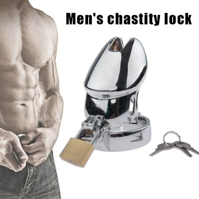 Hot Men Male Chastity Device Lock Metal Cage Cock Hollow Breathable Toy Adult Product sy998