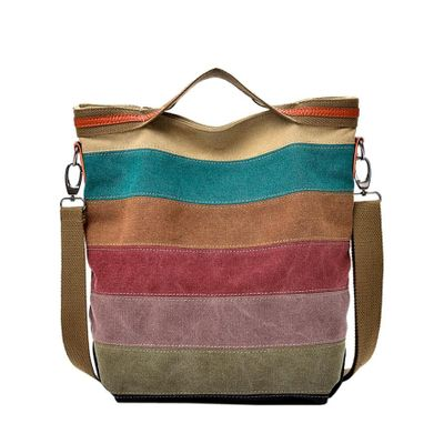 Fishsunday Women Outdoor Sports Canvas Splice Stripe Crossbody Bag Shoulder Bag Handbag Jogging Walking Bags 0803