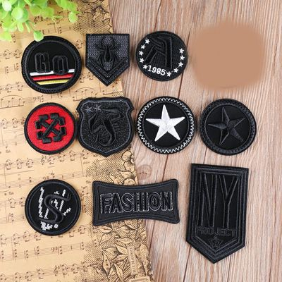 PGY high-quality Black Iron on Leather 3D Skull Badge for Clothes Bags Jeans Embroidery Custom Sticker Clothing Garment Patches