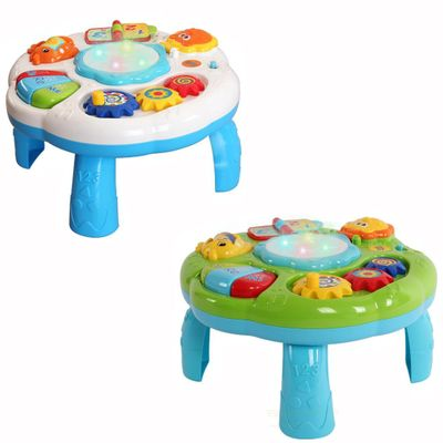 2020 Musical Baby Activity Table Baby child Toys Toddlers Educational Learning Table Toys With Piano And Pat Drum Light Up gift