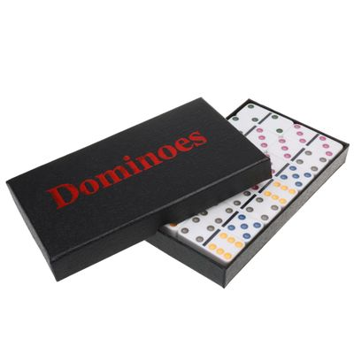 Double Six Dominoes Set of 28 Vintage Domino Travel Family Game Toy White Colorful Traditional Domino Set Classic Toy Kid Gift