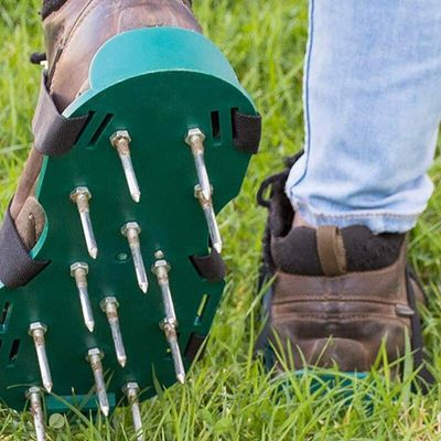 Lawn Aerated Shoes - for Effective Aeration of Lawn Soil - 3 Adjustable Shoulder Straps and Heavy Metal Buckles - One Size Fits