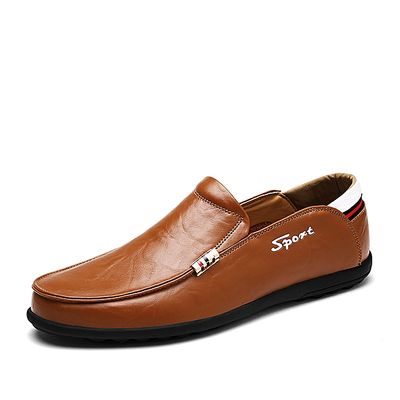Loafers Men Genuine Leather Slip On Casual Shoes Driving Moccasins (Orange)