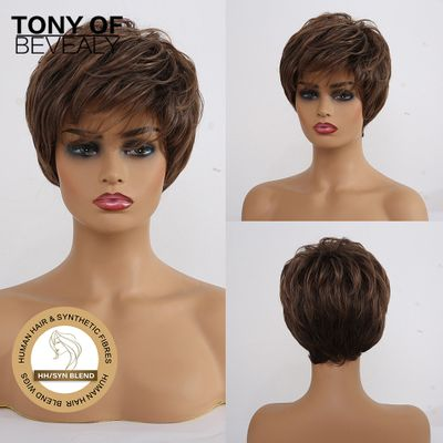 Short Brown Human Hair Mixed Wigs for Black Women Natural Daily Human Hair Fiber Blend Wigs Heat Resistant Synthetic Wigs