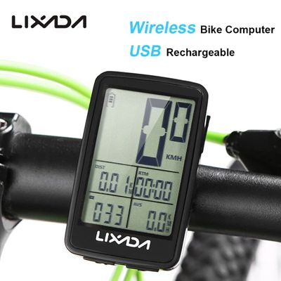 Lixada Wireless Cycling Computer USB Rechargeable Bike Computer Speedometer Rainproof MTB Bike Odometer Temperature Stopwatch