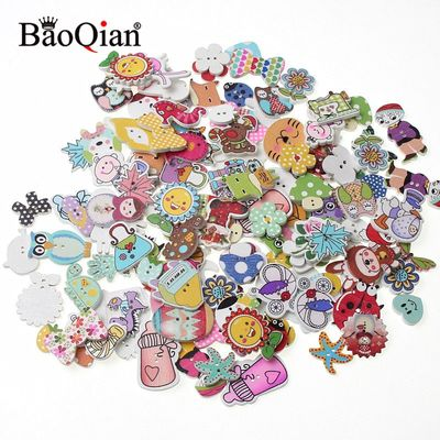 50Pcs Mixed Style 2 Holes Wood Buttons For Clothes Sewing Craft Scrapbooking Handicraft Buttons DIY Apparel Accessories