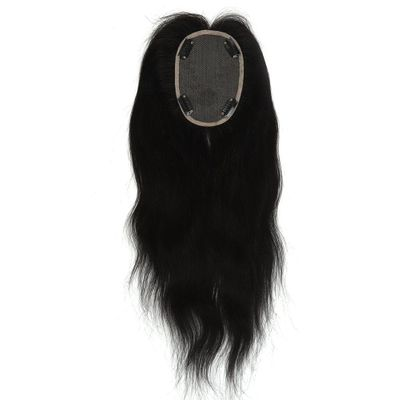 Neitsi 10*13 cm 14 inch Straight Remy Human Hair Topper Wig 100% Real Hair Lace Base With Clip Ins Hair Toupee 180% Density 60g