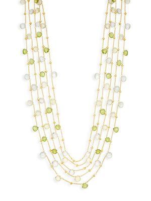Saks Fifth Avenue Mixed Gemstone Goldplated Station Necklace