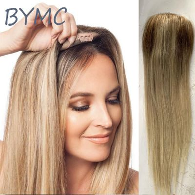 Toupee Woman ombre blonde straight Hair Top Piece European Remy Hair One Piece Hair Topper Mono Clip Wig for Less hair Women
