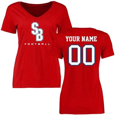 Stony Brook Seawolves Women's Personalized Football T-Shirt - Red