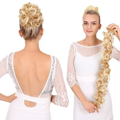Curly Bun Chignon Elastic Long Band Fluffy Bun for Bride Hairstyle Fashion Women Heat Resistant Synthetic Wig Around hair