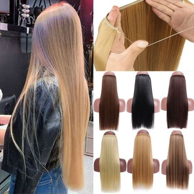 SHANGKE No Clips In Straight Hair Extensions Invisible Ombre Bayalage Synthetic Natural Hidden Secret Wire Crown Grey Pink Hair