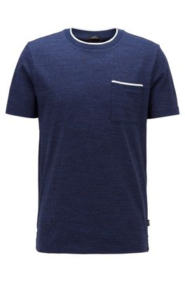 HUGO BOSS - Slim Fit T Shirt In Cotton With Heathered Stripes