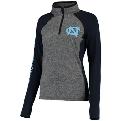 North Carolina Tar Heels Women's Finalist Quarter-Zip Pullover Jacket - Gray/Navy