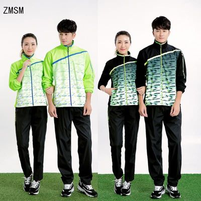 ZMSM New Long sleeve Men & Women Tennis Jackets Zipper Coat Running volleyball Badminton Table Tennis Tops Pants Suits NM5071