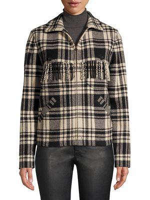 Ralph Lauren Fye Plaid Fringe Jacket