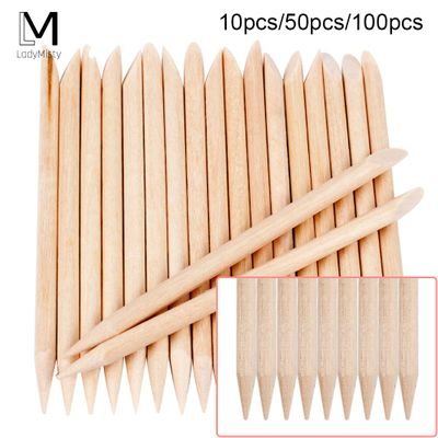 100/50/10 pcs Wooden Cuticle Pusher Nail Art Cuticle Remover Orange Wood Sticks For Cuticle Removal Manicure Nail Art Tools