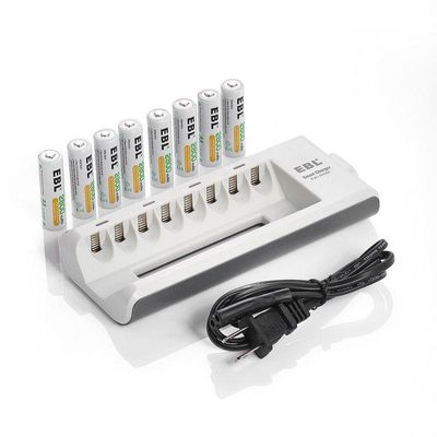 EBL 8-Pack 1.2v AA 2800mAh Rechargeable Batteries + 8 Bay 808 Battery Charger for AA AAA Ni-MH Replacement Battery