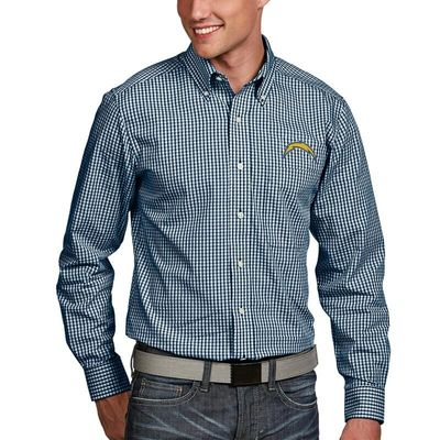 Los Angeles Chargers Antigua Associate Woven Long Sleeve Button-Down Shirt - Navy