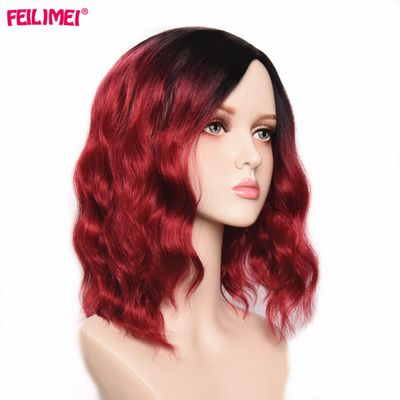 Feilimei Synthetic Pink Red Wigs Heat Resistant Hair for Black Women 14